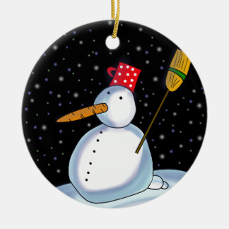Lonely Snowman Ceramic Ornament