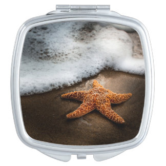 Lonely Starfish On The Beach Travel Mirror