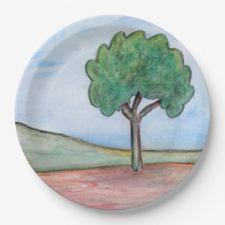 Lonely tree 9 inch paper plate