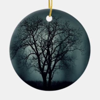 Lonely Tree at Night Ceramic Ornament