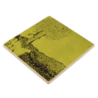 Lonely Tree Maple Wood Coaster