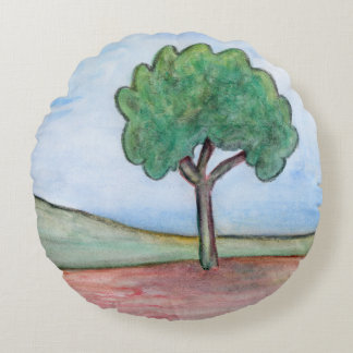 Lonely tree round cushion