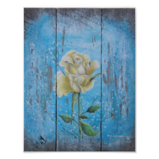 Lonely Yellow Rose Poster Print