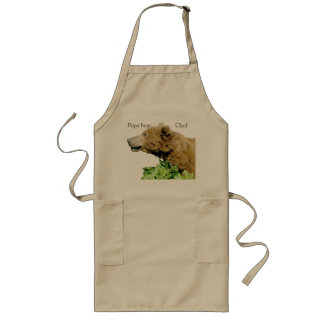 Long apron with grizzly bear