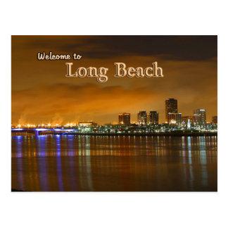 Long Beach California At Night Postcard