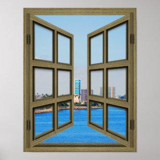 Long Beach Harbor View - 6 Pane Open Window Poster