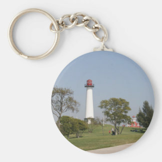 Long Beach Lighthouse Basic Round Button Key Ring