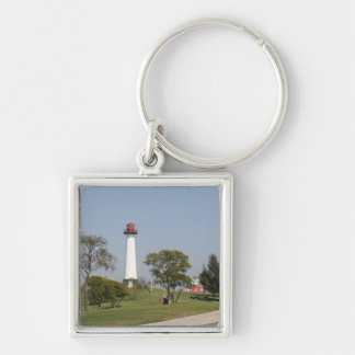 Long Beach Lighthouse Silver-Colored Square Key Ring
