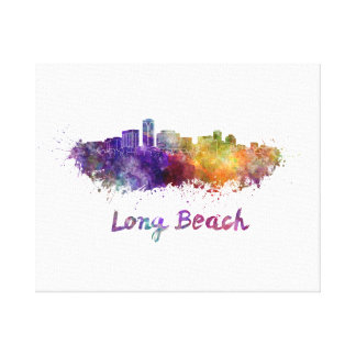 Long Beach skyline in watercolor Canvas Print