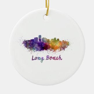 Long Beach skyline in watercolor Ceramic Ornament