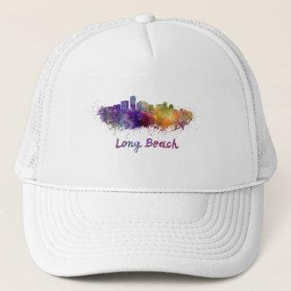 Long Beach skyline in watercolor Trucker Hat
