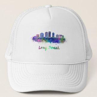 Long Beach V2 skyline in watercolor Trucker Hat