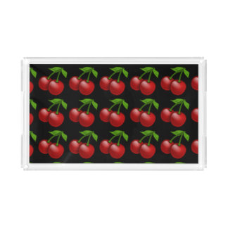 Long Black and White Cherries Serving Tray