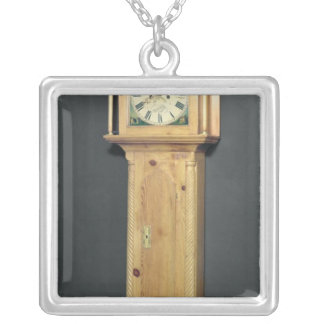 Long-case clock, with enamel painting silver plated necklace