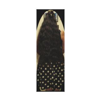 Long Dark Hair And Polka Dot Skirt Canvas Print