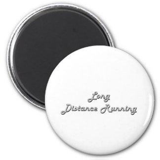 Long Distance Running Classic Retro Design 6 Cm Round Magnet