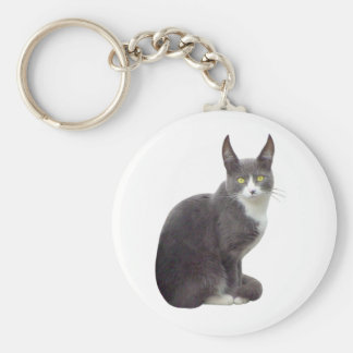 Long Eared Cat Basic Round Button Key Ring