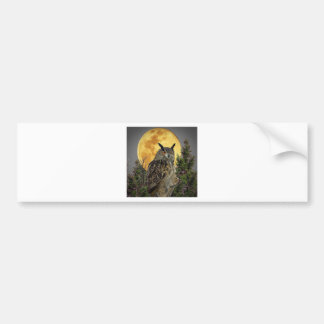 LONG EARED OWL BY MOONLIGHT BUMPER STICKER