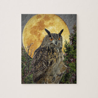 LONG EARED OWL BY MOONLIGHT JIGSAW PUZZLE