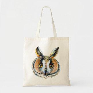 Long- eared owl portrait tote bag