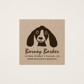 Long Ears Dog | Cute Dog | Kraft Square Square Business Card