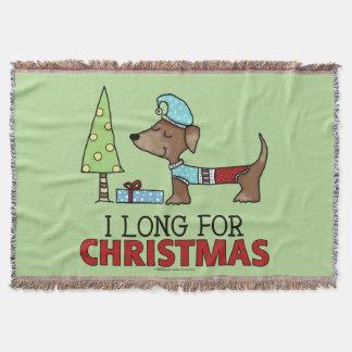 Long for Christmas-Dachshund Throw Blanket