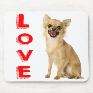 Long Hair Chihuahua Puppy Dog Canine Red Love Mouse Pad