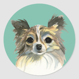 Long Hair Chihuahua Watercolor Portrait Classic Round Sticker