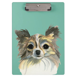 Long Hair Chihuahua Watercolor Portrait Clipboard