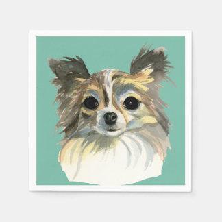Long Hair Chihuahua Watercolor Portrait Disposable Serviettes