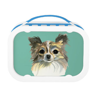 Long Hair Chihuahua Watercolor Portrait Lunch Box