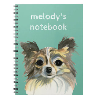 Long Hair Chihuahua Watercolor Portrait Notebook