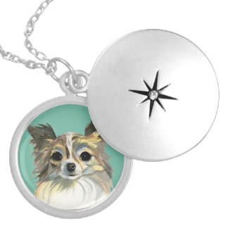 Long Hair Chihuahua Watercolor Portrait Silver Plated Necklace