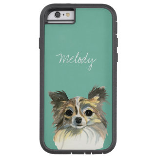 Long Hair Chihuahua Watercolor Portrait Tough Xtreme iPhone 6 Case