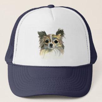 Long Hair Chihuahua Watercolor Portrait Trucker Hat