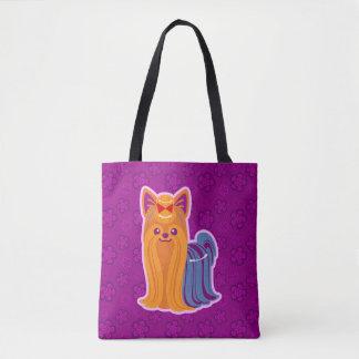 Long Hair Yorkie Kawaii Cartoon Dog Tote Bag