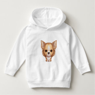 Long-Haired Beige and White Chihuahua Hoodie