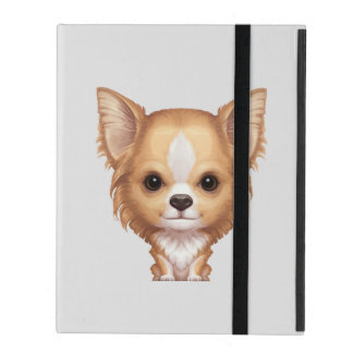Long-Haired Beige and White Chihuahua iPad Folio Case