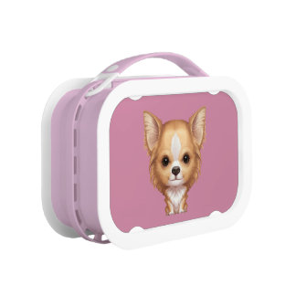Long-Haired Beige and White Chihuahua Lunch Box