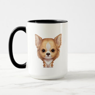 Long-Haired Beige and White Chihuahua Mug