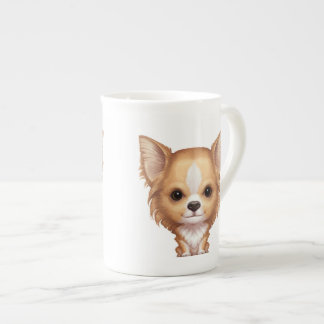 Long-Haired Beige and White Chihuahua Tea Cup
