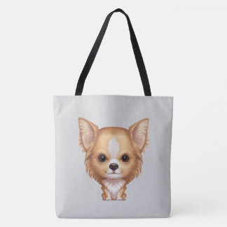 Long-Haired Beige and White Chihuahua Tote Bag