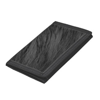 LONG HAIRED BLACK CAT FUR TRIFOLD WALLET