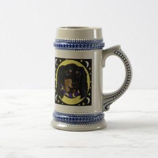 Long Haired Black Dachshund Beer Stein