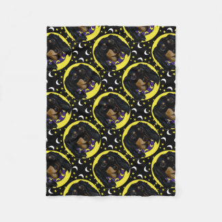 Long Haired Black Dachshund Fleece Blanket
