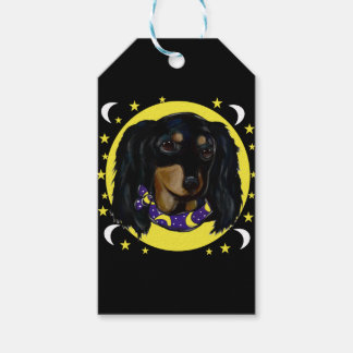 Long Haired Black Dachshund Gift Tags