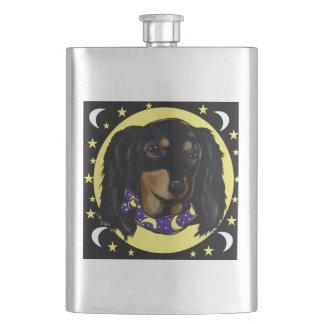 Long Haired Black Dachshund Hip Flask
