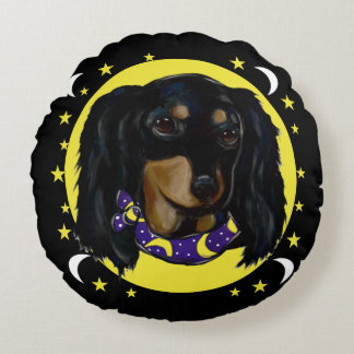 Long Haired Black Dachshund Round Cushion