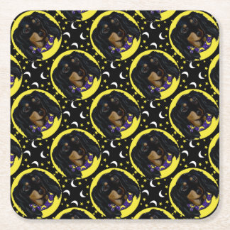 Long Haired Black Dachshund Square Paper Coaster