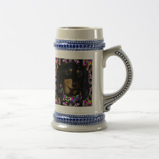 Long Haired Black Doxie Beer Stein
